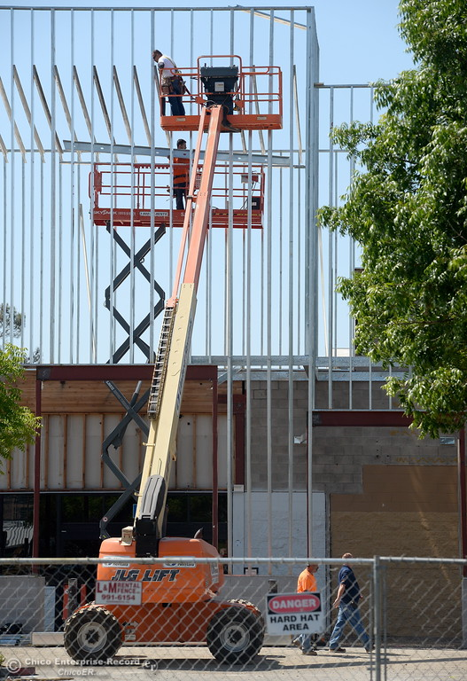 . Construction continues on the front of the old Walmart Shopping Center in Oroville, Calif. Tues. May 22, 2018.  (Bill Husa -- Photos)