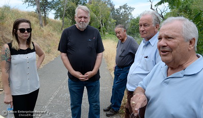 Genoa Widener, Richard Thompson, Don Blake, Robert Bateman and Larry Grundmann left to right talk about the Feather River and what they hope to accomplish with the Feather River Recovery Alliance Wednesday May 30, 2018. (Bill Husa -- Enterprise-Record)