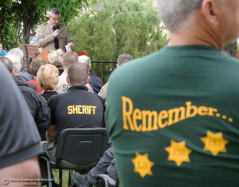 . during the fallen peace officers memorial held in honor of Peace Officers Memorial Day at the Butte County Sheriff\'s office in Oroville, Calif. Wed. May 16, 2018.  (Bill Husa -- Enterprise-Record)