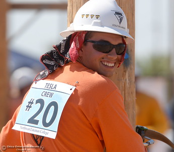 Cole Sealander smiles as he looks over his shoulder during the Northwest Lineman College Rodeo held at the NLC training center in Oroville, Calif. Friday July 14, 2017. (Bill Husa -- Enterprise-Record)