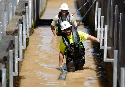 Department of Fish & Wildlife Technicians Adam Anton foreground and Dave Lunsford behind remove stop logs from the fish ladder and crowd out the remaining fish at the Feather River Fish Hatchery in Oroville, Calif. Mon. July 17, 2017. (Bill Husa -- Enterprise-Record)