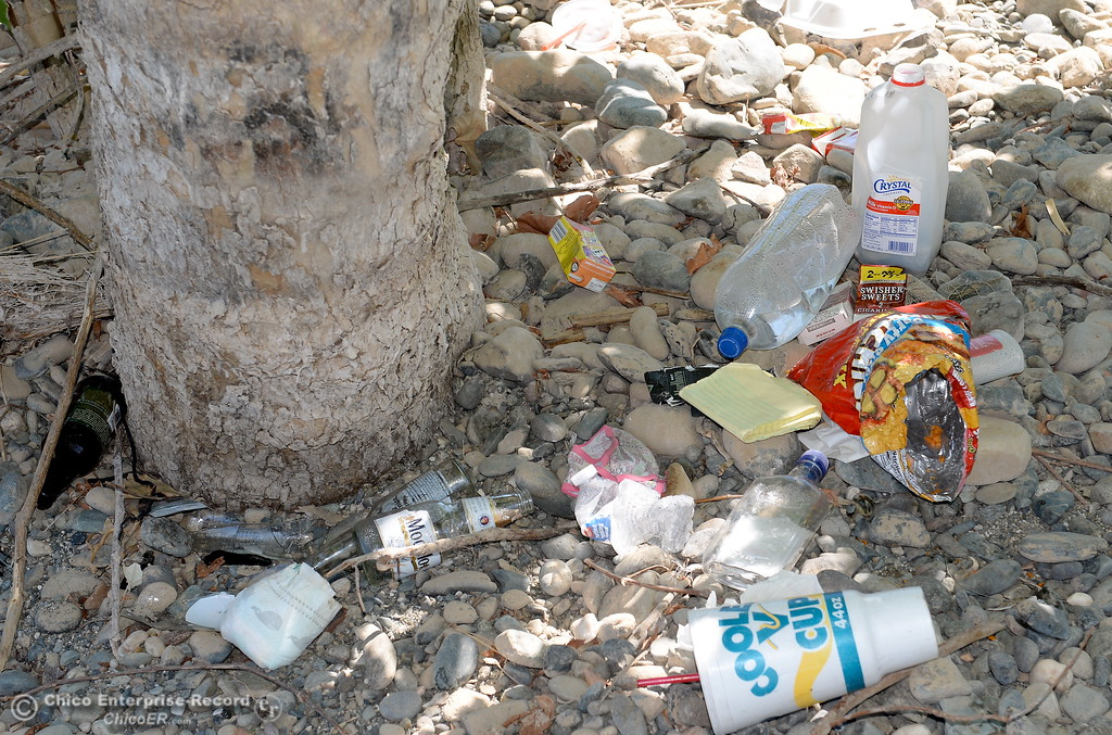 . Trash left behind by litterbugs at Bedrock Park seen in Oroville, Calif. Wed. July 26, 2017. (Bill Husa -- Enterprise-Record)