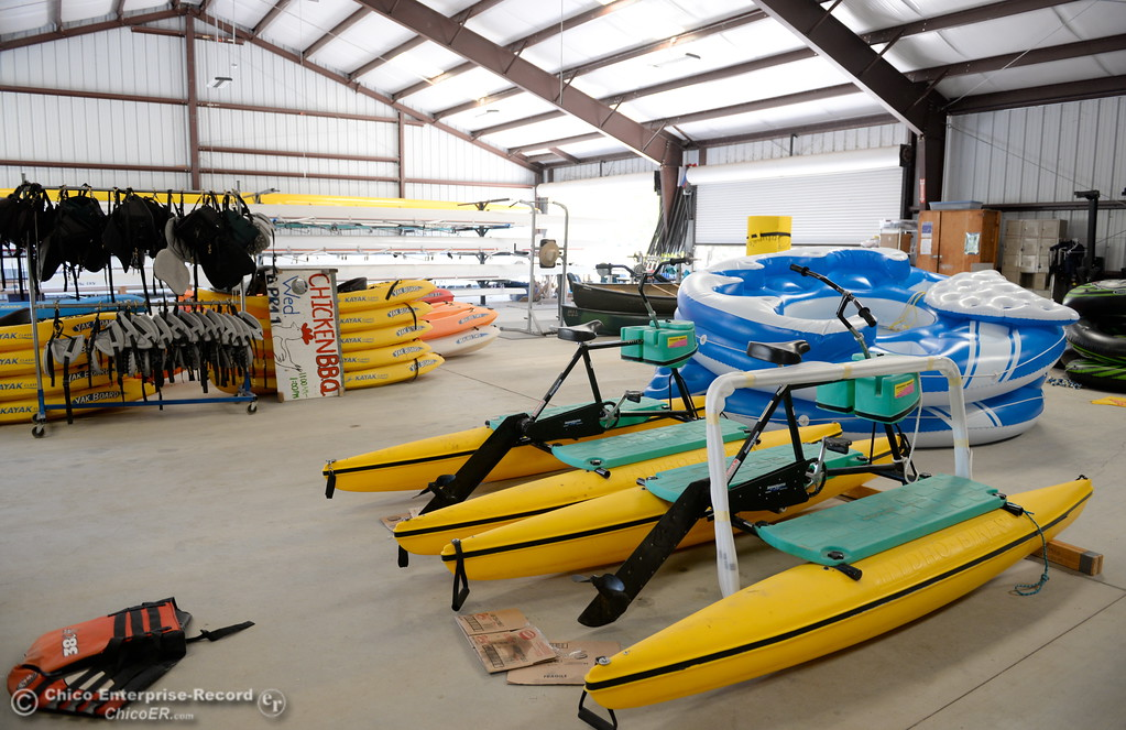 . Various equipment is seen at the Forebay Aquatic Center where visitors can learn such things as how to paddleboard, kayak and row a scull at Forebay in Oroville, Calif. Wed. July 26, 2017. (Bill Husa -- Enterprise-Record)