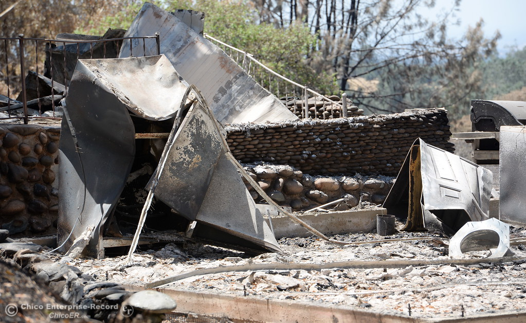 . Structures seen off John Marden Lane that suffered damage during the Wall Fire are seen in Oroville, Calif. Wed. July 26, 2017. (Bill Husa -- Enterprise-Record)