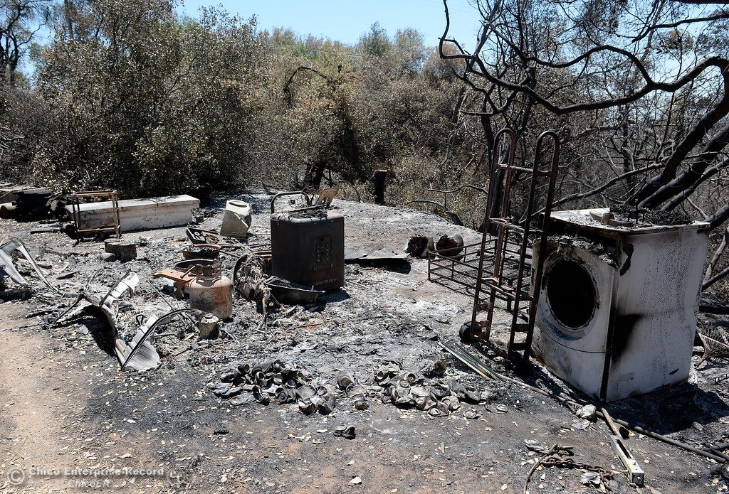 . Devestation from the Wall Fire is seen around John Marden Lane in Oroville, Calif. Wed. July 26, 2017. (Bill Husa -- Enterprise-Record)