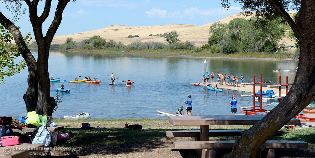 . Program participants enjoy various water related activities at the Forebay Aquatic Center such as how to paddleboard, kayak and perform safe dock rescues at the Forebay in Oroville, Calif. Wed. July 26, 2017. (Bill Husa -- Enterprise-Record)