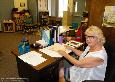 Special education teacher Diane Steffy gets her classroom and paperwork in order for the start of the new semester at Sierra Del Oro Elementary School August 15, 2016 in Oroville, Calif. (Emily Bertolino -- Mercury Register)
