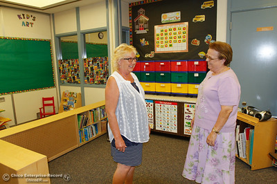 Special education pre-school teacher Diane Steffy, left, talks with Lynne Vincent the director of special education as the two prepare for the start of school at Sierra Del Oro August 15, 2016 in Oroville, Calif. The school has reopened after being closed since May of 2014.(Emily Bertolino -- Mercury Register)