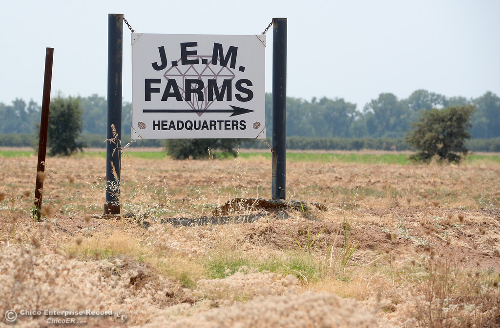 . A sign is seen near the entrance to J.E.M. Farms following a press conference announcing the filing of a claim against DWR for damages to JEM Farms and Chandon Ranch for lost acreage, lost production and cleanup/remediation costs due to the spillway failure in Oroville, Calif. Thurs. Aug. 3 2017. (Bill Husa -- Enterprise-Record)
