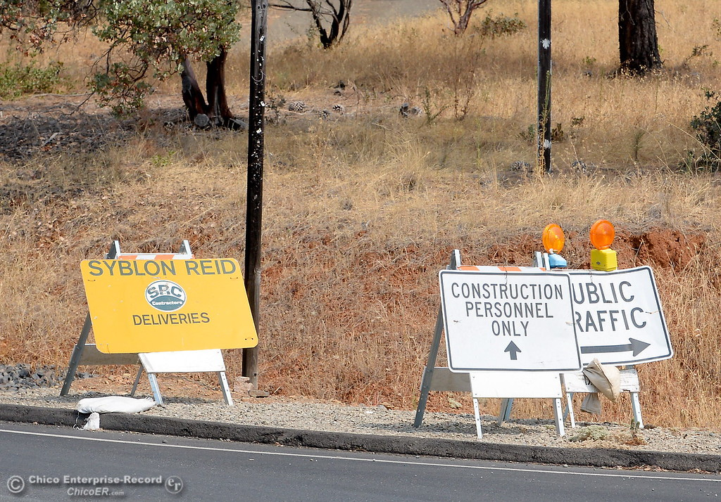 . Road blocks remain in place at Oro Dam Blvd. E and Canyon Drive as work continues on the Lake Oroville Dam Spillway in Oroville, Calif. Thursday Sept. 14, 2017. (Bill Husa -- Enterprise-Record)