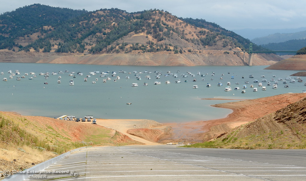 . Water levels in Lake Oroville drop closing the primary boat launch at Bidwell Canyon Marina in Oroville, Calif. Thursday Sept. 14, 2017. Another parking lot is located to the left near the bottom of the ramp where a secondary paved boat ramp operates currently. (Bill Husa -- Enterprise-Record)