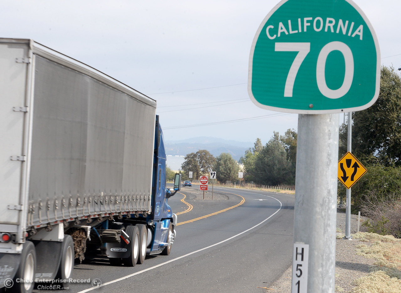A truck drives past a Hwy. 70 sign in Oroville, Calif. Thursday Sept. 14, 2017. (Bill Husa -- Enterprise-Record)