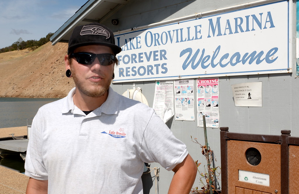 . Dock worker Casey Morgan talks about what it is like around the Marina as houseboats are pulled from Lake Oroville at Forever Resorts Lime Saddle Marina Monday Sept. 18, 2017. (Bill Husa -- Enterprise-Record)