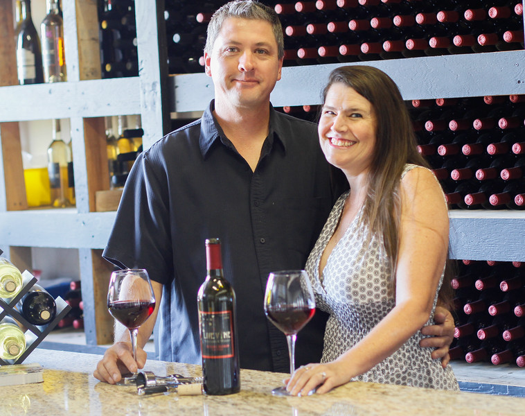 Susan and Shawn Smith in their tasting room at Live Vine Wines September 22, 2017 in Oroville, California. (Emily Bertolino -- Mercury Register)