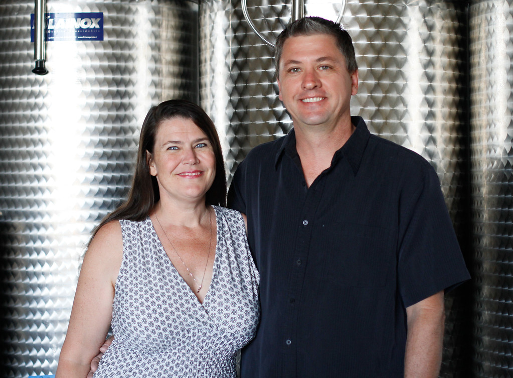 . Susan and Shawn Smith in their tasting room at Live Vine Wines September 22, 2017 in Oroville, California. (Emily Bertolino -- Mercury Register)