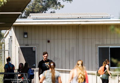 Solar panels seen above classrooms at Las Plumas High School Thursday August 31, 2017 in Oroville, California. The Oroville Union High School District has been installing solar panels over the last year and now the entire district will be completely off the grid. (Emily Bertolino -- Mercury-Register)