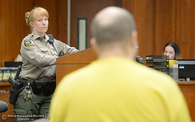 A Butte County Superior Court Bailiff watches the defendant during a preliminary hearing in the case of Marc Valcarenghi at Butte County Superior Court in Oroville, Calif. Tues. Aug. 29, 2017. Valacarenghi is accused of a homicide at the Safari Inn. (Bill Husa -- Enterprise-Record)