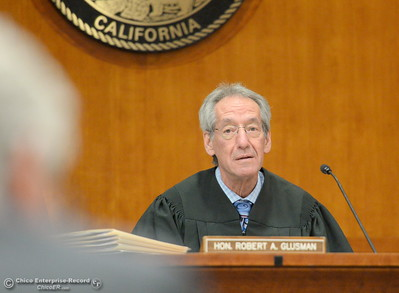 Judge Robert A. Glusman presides during a preliminary hearing in the case of Marc Valcarenghi at Butte County Superior Court in Oroville, Calif. Tues. Aug. 29, 2017. Valacarenghi is accused of a homicide at the Safari Inn. (Bill Husa -- Enterprise-Record)