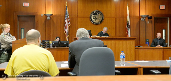Defense Attorney Philip Heithecker sits beside the defendant while Detective Dane Gregory testifies during a preliminary hearing in the case of Marc Valcarenghi at Butte County Superior Court in Oroville, Calif. Tues. Aug. 29, 2017. Valacarenghi is accused of a homicide at the Safari Inn. (Bill Husa -- Enterprise-Record)