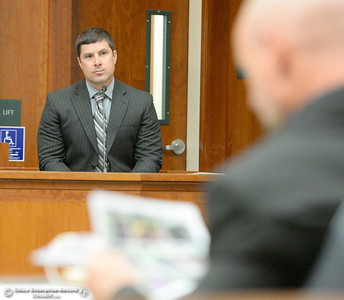 Detective Nick Bauer testifies during a preliminary hearing in the case of Marc Valcarenghi at Butte County Superior Court in Oroville, Calif. Tues. Aug. 29, 2017. Valacarenghi is accused of a homicide at the Safari Inn. (Bill Husa -- Enterprise-Record)