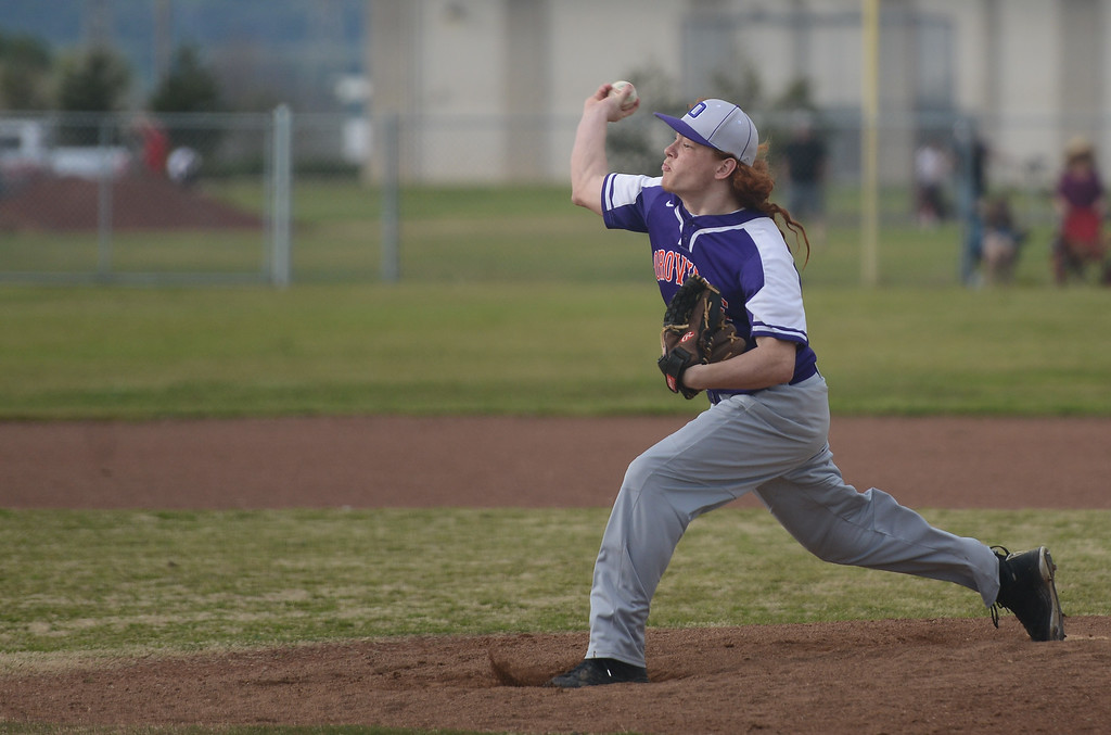 . Oroville High\'s Trenton Roosevelt pitches the ball, March 29, 2018, in Oroville, California. (Carin Dorghalli -- Enterprise-Record)