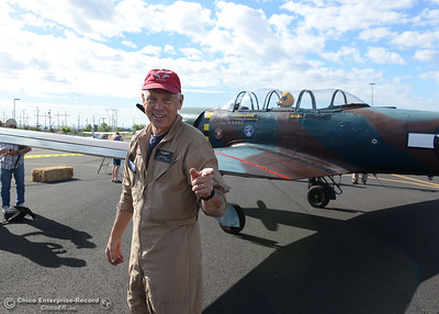 Pilot John Freckman with his Chinese-made Nanchang CJ-6A plane Saturday, May 14, 2016, at the Oroville Airport in Oroville, California. (Dan Reidel -- Enterprise-Record)