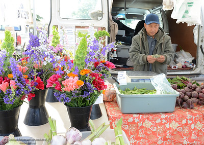 Ken Lee, of Lee Family Farms, counts change for a customer at the Oroville Certified Farmers Market's new location Saturday, May 14, 2016, at Riverbend Park in Oroville, California. (Dan Reidel -- Enterprise-Record)