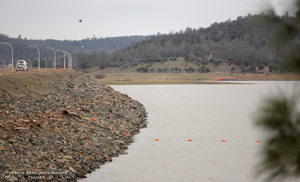. The lower lake level is visibly noticable today as the Lake Oroville Dam Spillway emergency continues in Oroville, Calif. Wed. Feb. 15, 2017. (Bill Husa -- Enterprise-Record)