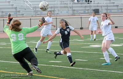 Gridley Goalie Monce Mojica stops a shot from Oroville #19 Sarah Miller during first half action of Oroville vs Gridley girls soccer at Harrison Stadium in Oroville, Calif. Tues. Jan. 23, 2018. Bill Husa -- Enterprise-Record)