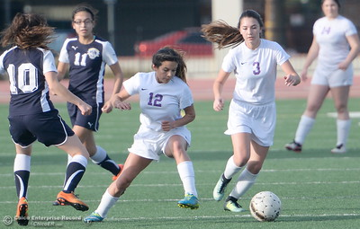 Oroville's #12 McKayla Thompson and #3 Amanda Cagnacci work the ball downfield together during Oroville vs Gridley girls soccer at Harrison Stadium in Oroville, Calif. Tues. Jan. 23, 2018. Bill Husa -- Enterprise-Record)