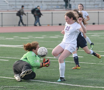 Oroville #19 Sarah Miller can't quite get this ball past Gridley Goalie Monce Mojica during first half action of Oroville vs Gridley girls soccer at Harrison Stadium in Oroville, Calif. Tues. Jan. 23, 2018. Bill Husa -- Enterprise-Record)