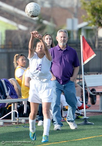 during Oroville vs Gridley girls soccer at Harrison Stadium in Oroville, Calif. Tues. Jan. 23, 2018. Bill Husa -- Enterprise-Record)