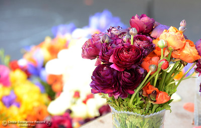 Flowers on display at Fruitiya Farms' booth during the Historic Downtown Oroville Certified Farmers Market on Wednesday, March 30, 2016, on  Myers Street in Oroville, California. (Dan Reidel -- Mercury-Register)