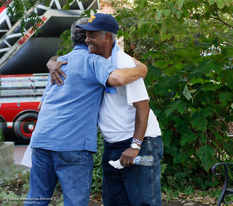 "Chuck McCarter gives says goodbye to a friend at the annual National Night Out, a ""community-building campaign that promotes police-community partnerships and neighborhood camaraderie to make our neighborhoods safer, better places to live"" August 2, 2016 at the Lott Home in Oroville, Calif. (Emily Bertolino -- Mercury Register)"