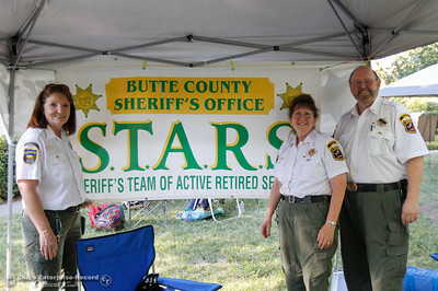 Butte County Sheriff's Office S.T.A.R.S. Linda Rhyne, Carol Zink and Michael Zink at the annual National Night Out August 2, 2016 at the Lott Home in Oroville, Calif. (Emily Bertolino -- Mercury Register)