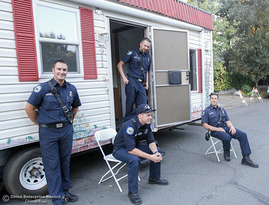 Firefighters with the Oroville Fire Department at the  Fire Safety House a portable house they take around to simulate fires and teach kids what to do in case of a fire in their home at the annual National Night Out August 2, 2016 at the Lott Home in Oroville, Calif. (Emily Bertolino -- Mercury Register)