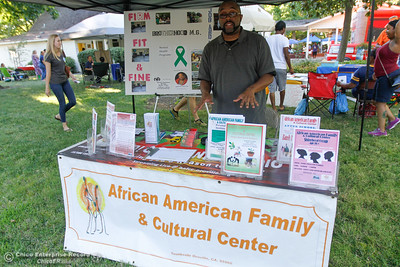 Paul Montenez with the African American Family and Culture Center at the annual National Night Out August 2, 2016 at the Lott Home in Oroville, Calif. (Emily Bertolino -- Mercury Register)