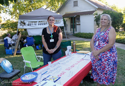 Amber Durbin and Carol Sutherland with the Oroville City Elementary School District at the annual National Night Out August 2, 2016 at the Lott Home in Oroville, Calif. (Emily Bertolino -- Mercury Register)