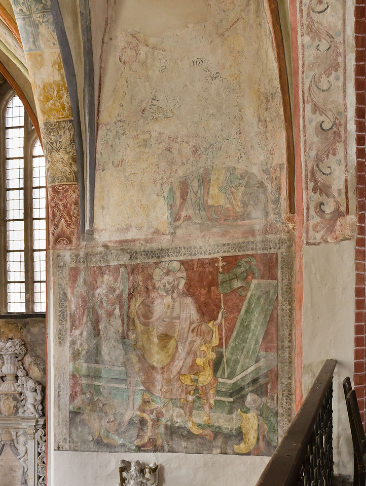 Brandenburg, St. Katharinen. Wandmalerei: Auferstehung (1.V.15.Jh.) am Übergang zur Nordkapelle