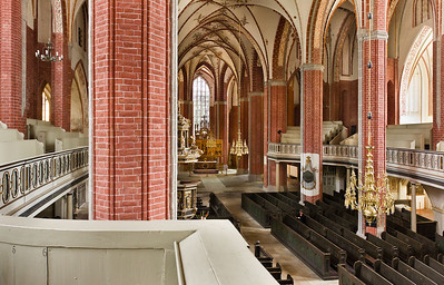 Brandenburg, St. Katharinen. Blick von Empore über Kirchenschiff nach Osten
