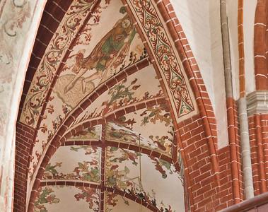 Brandenburg, St. Katharinen. Gewölbemalerei im Chor: Christopherus (2.H.15.Jh.)