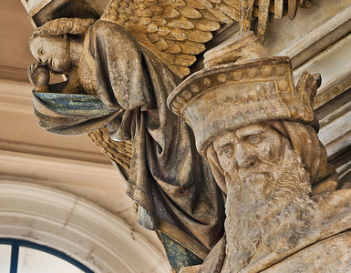 Dijon, Kartause. Mosesbrunnen: Zacharias-Kopf, und Engel