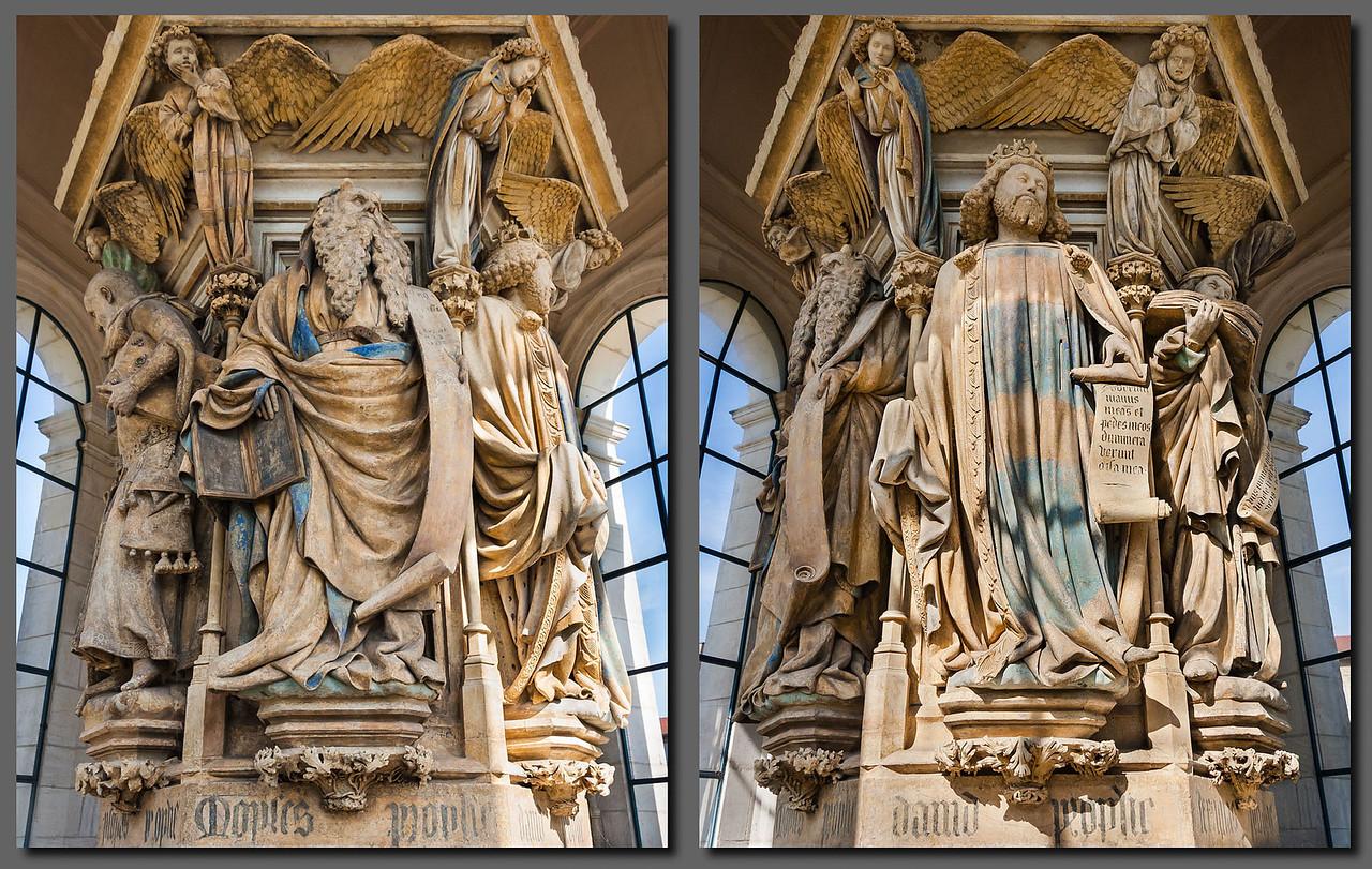 Dijon, Kartause. Mosesbrunnen: Moses, David (Claus Sluter)