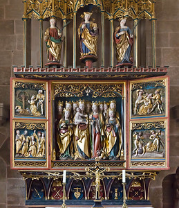 Heilsbronn, Münster: Elftausend-Jungfrauenaltar, li. Katharina + Barbara, re. Apollonia und Christina (1513, Peter Strauss)
