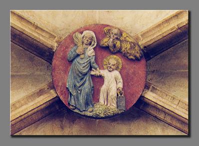 Nürnberg. Frauenkirche: Schlusstein mit Jesu Schulgang (Postkarte)