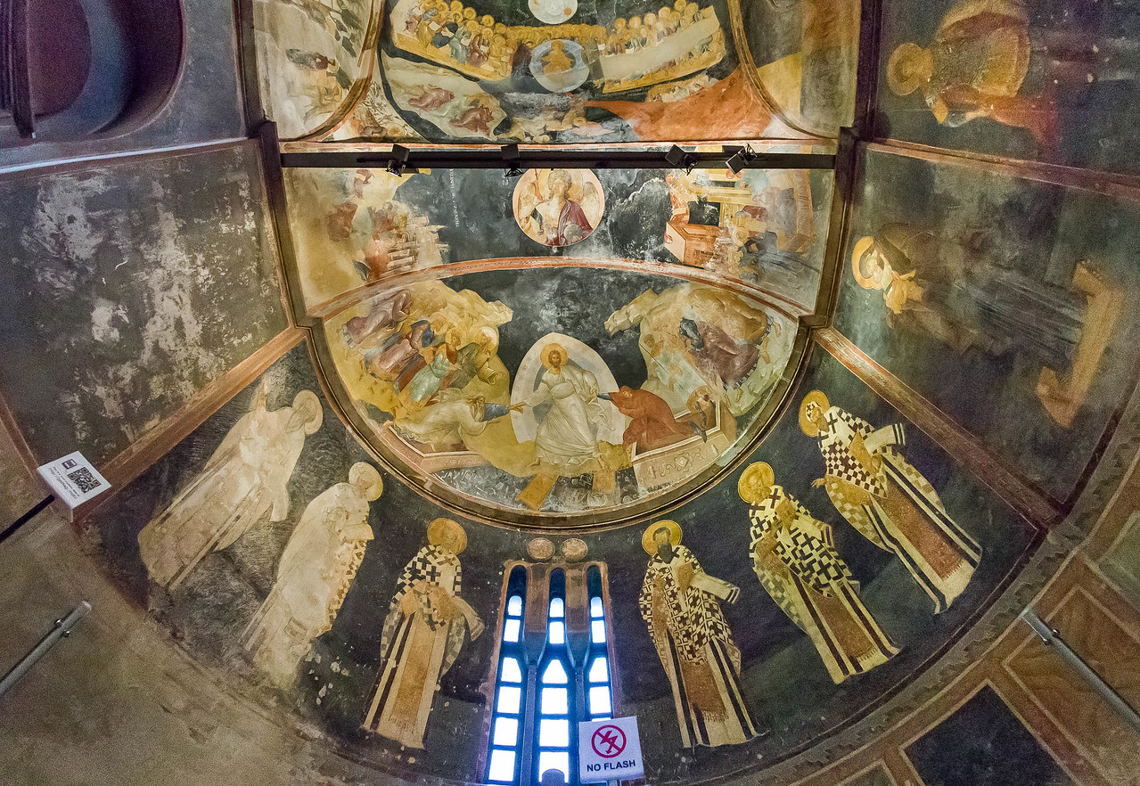 Istanbul, Chora-Kloster, Parekklesion, Apsis: Anastasis (Abstieg zum Limbus), Kirchenväter (67)