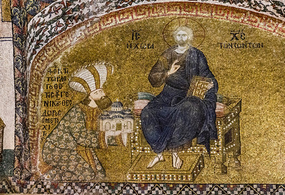 Istanbul, Chora-Kloster: Stifter Theodor Metochites + Christus (IN 3)