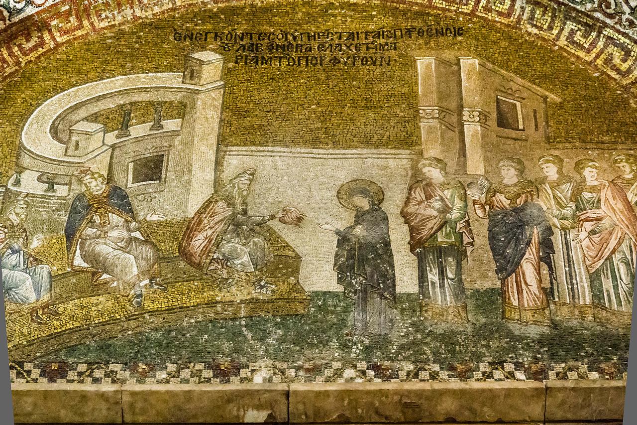 Istanbul, Chora-Kloster: Maria erhält die Purpurwolle (21)