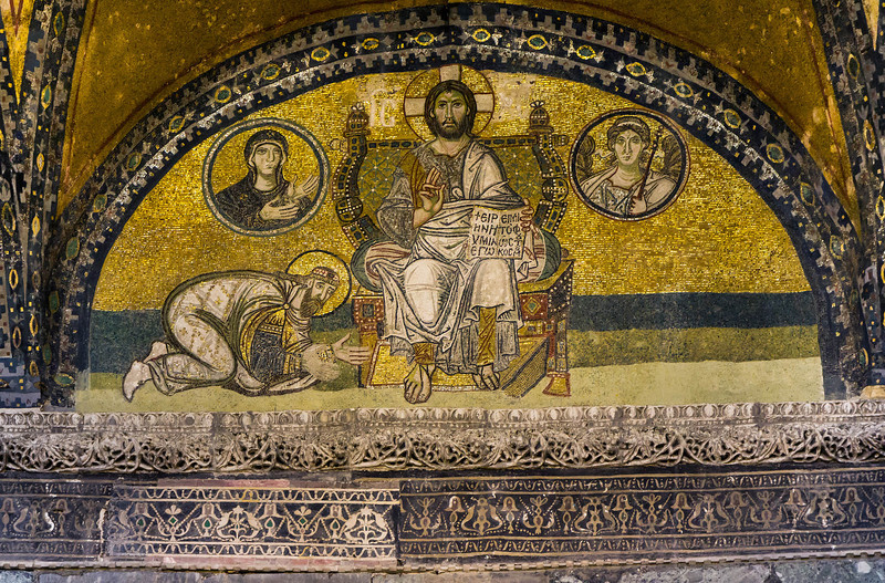 Istanbul, Hagia Sophia: Mosaik über der Kaisertür (um 900)