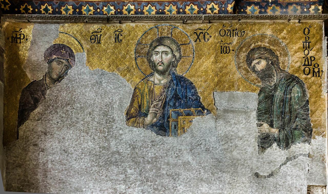 Istanbul, Hagia Sophia: Große Deesis im mittl. Saal der Südempore (Ende 13. Jh.)